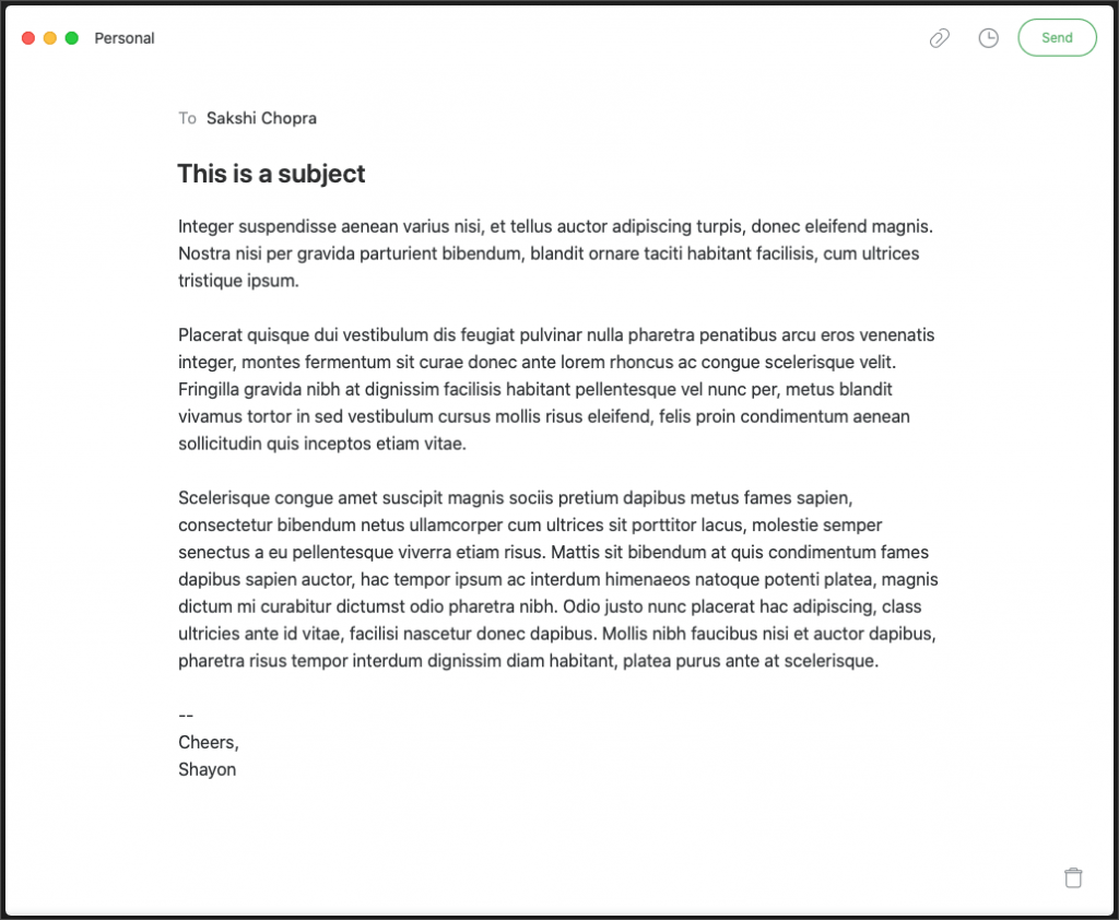 The e-mail compose window is gorgeous